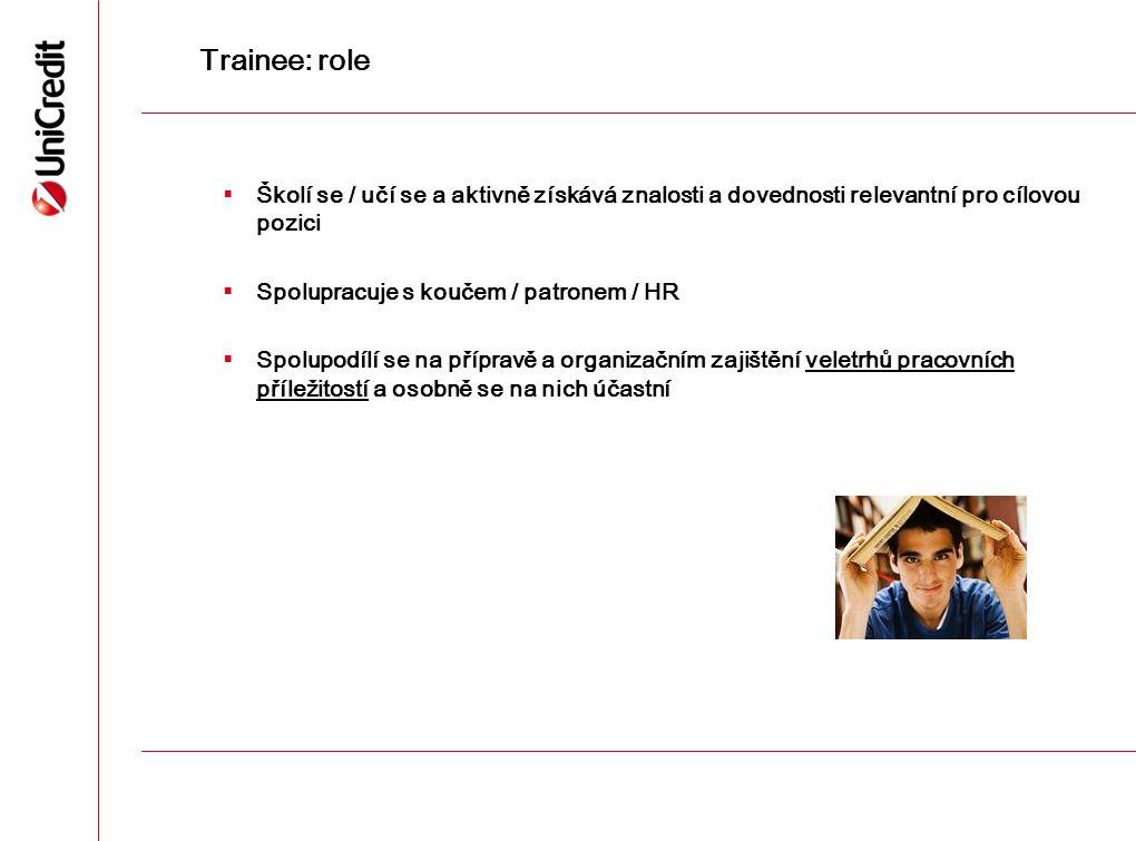 Trainee: role Školí se / učí se a aktivně získává znalosti a dovednosti relevantní pro cílovou pozici.