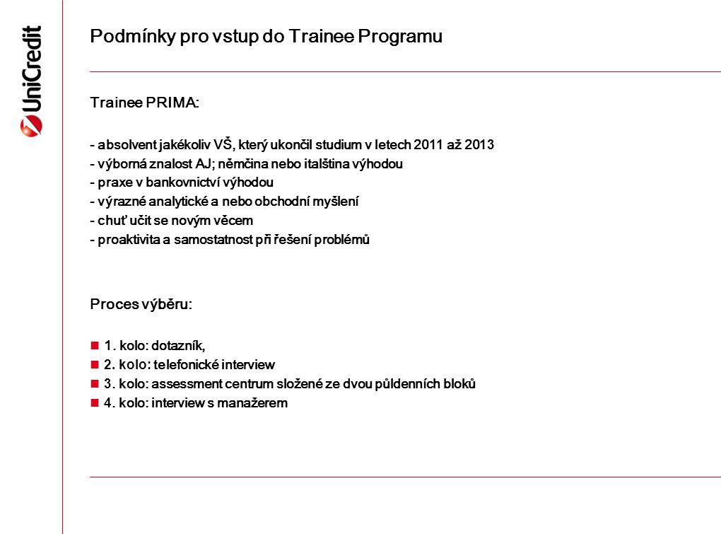 Podmínky pro vstup do Trainee Programu