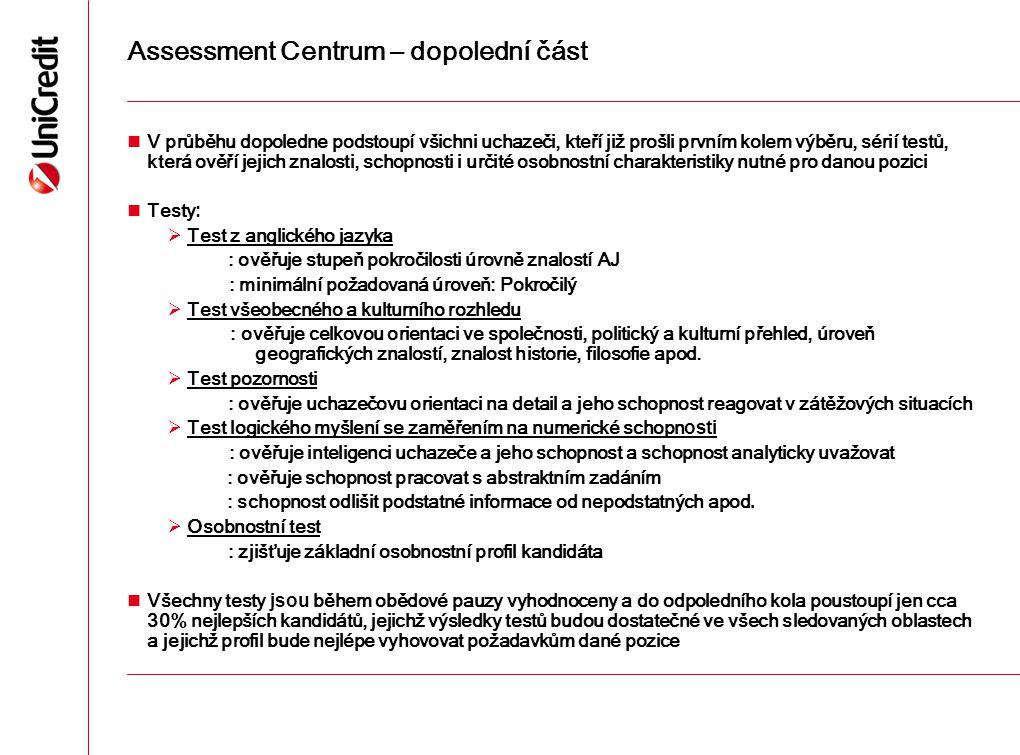 Assessment Centrum – dopolední část