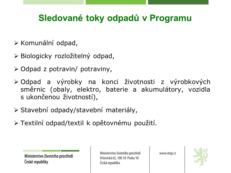 Sledované toky odpadů v Programu