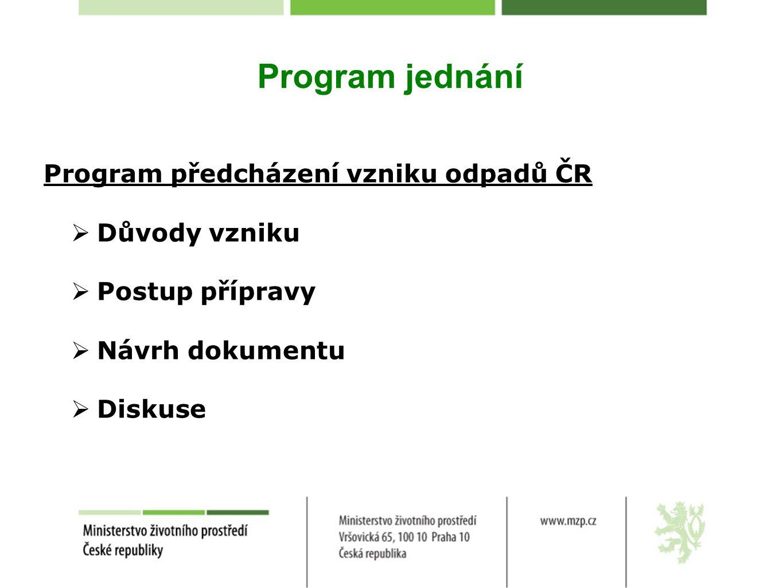 Program jednání Program předcházení vzniku odpadů ČR Důvody vzniku