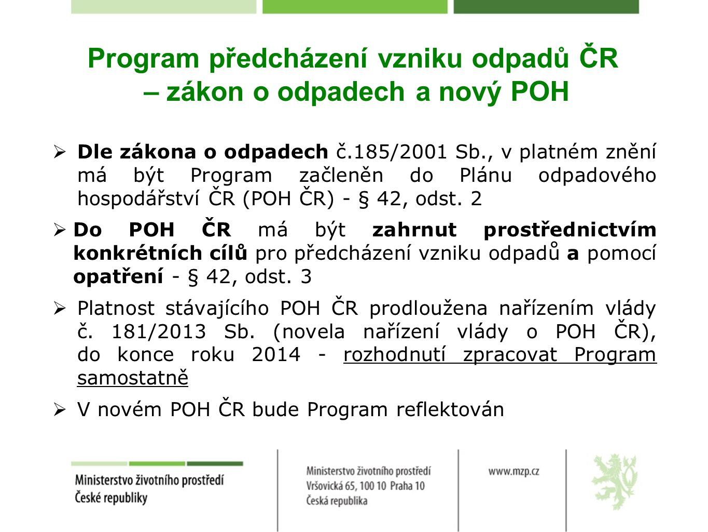 Program předcházení vzniku odpadů ČR – zákon o odpadech a nový POH