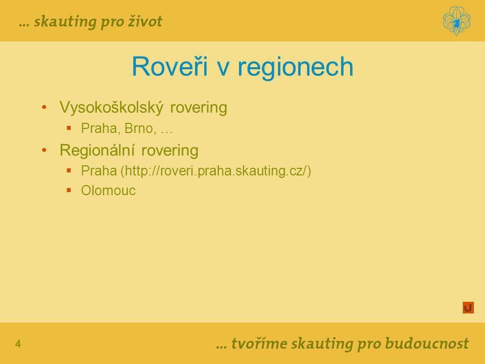 Roveři v regionech Vysokoškolský rovering Regionální rovering