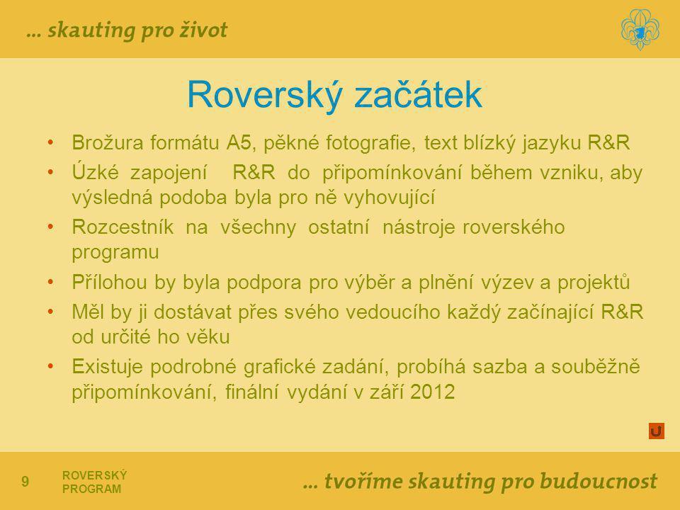 Roverský začátek Brožura formátu A5, pěkné fotografie, text blízký jazyku R&R.