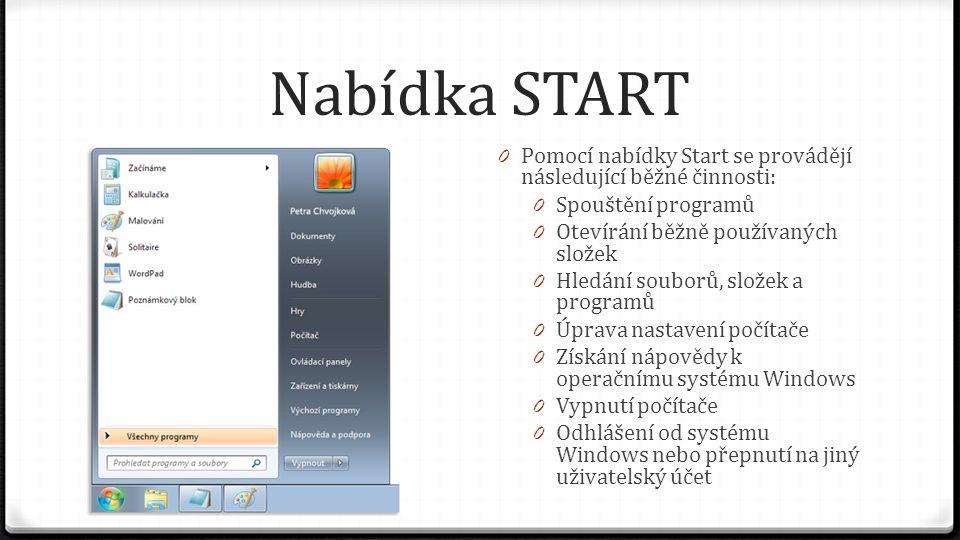 Nabídka START Pomocí nabídky Start se provádějí následující běžné činnosti: Spouštění programů. Otevírání běžně používaných složek.