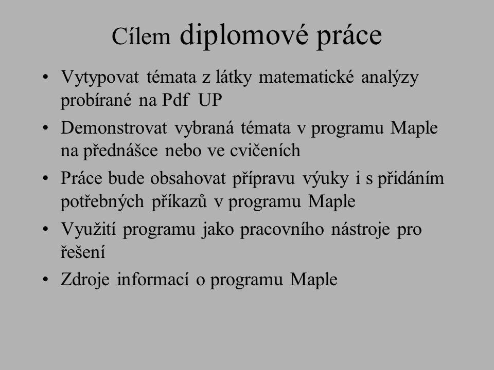 Cílem diplomové práce Vytypovat témata z látky matematické analýzy probírané na Pdf UP.