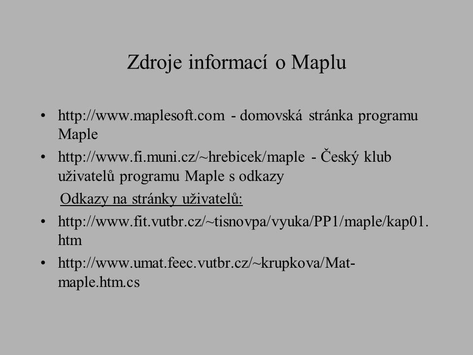 Zdroje informací o Maplu