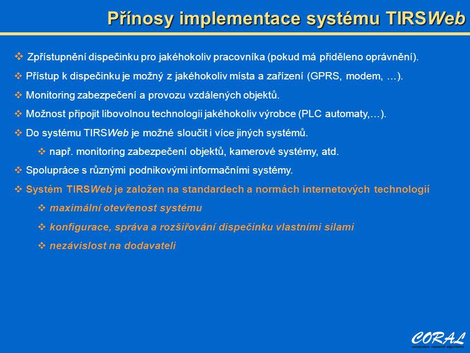 Přínosy implementace systému TIRSWeb