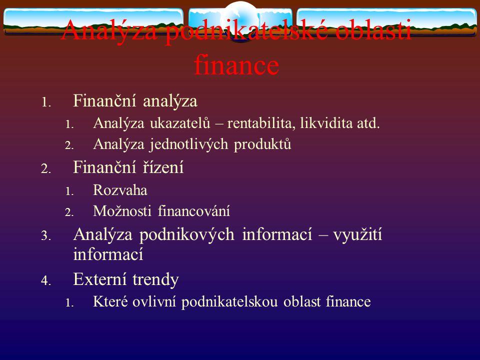 Analýza podnikatelské oblasti finance
