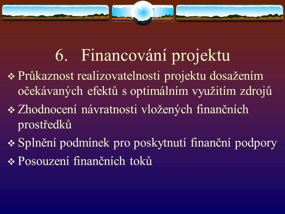 Financování projektu Průkaznost realizovatelnosti projektu dosažením očekávaných efektů s optimálním využitím zdrojů.