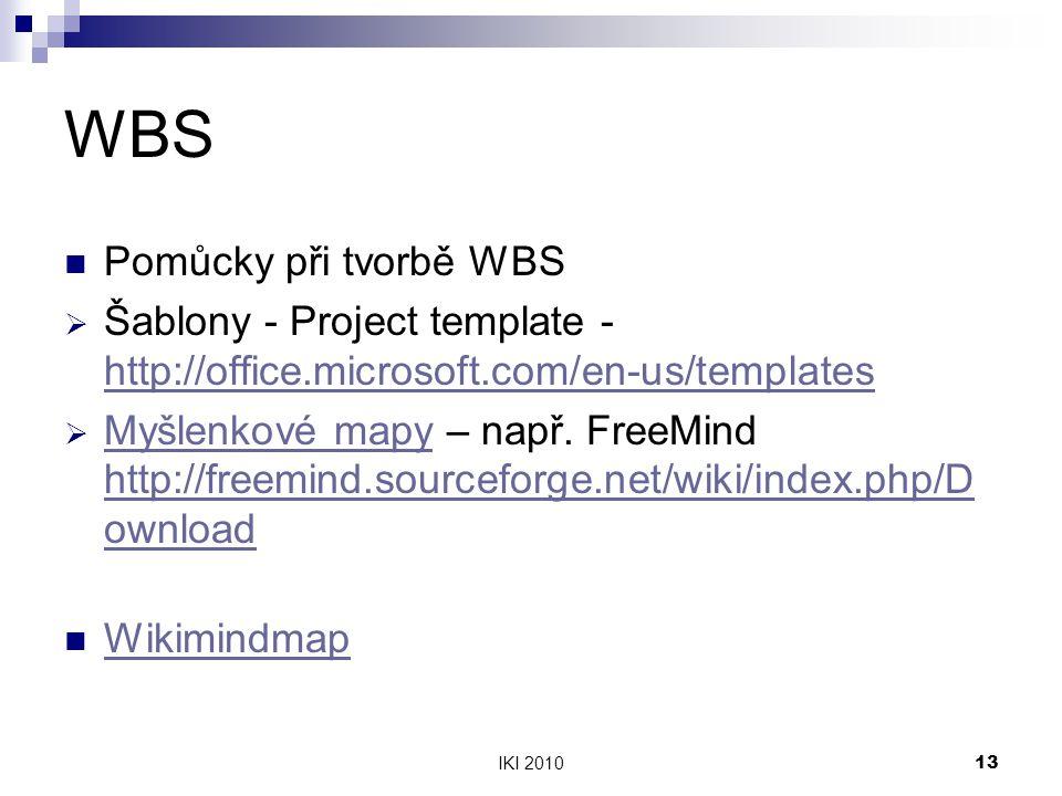WBS Pomůcky při tvorbě WBS