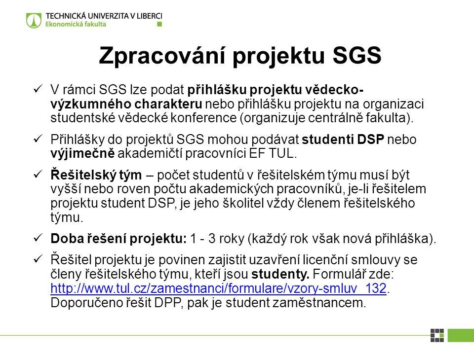 Zpracování projektu SGS