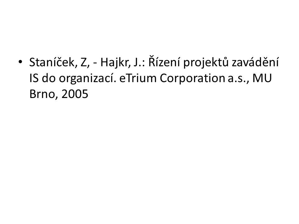 Staníček, Z, - Hajkr, J. : Řízení projektů zavádění IS do organizací