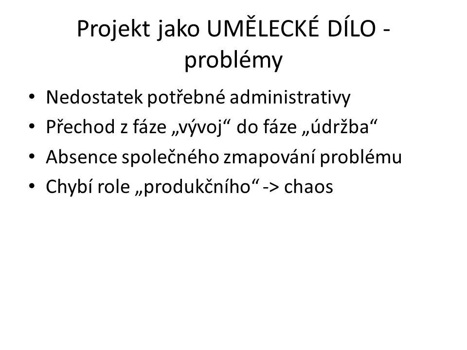 Projekt jako UMĚLECKÉ DÍLO - problémy