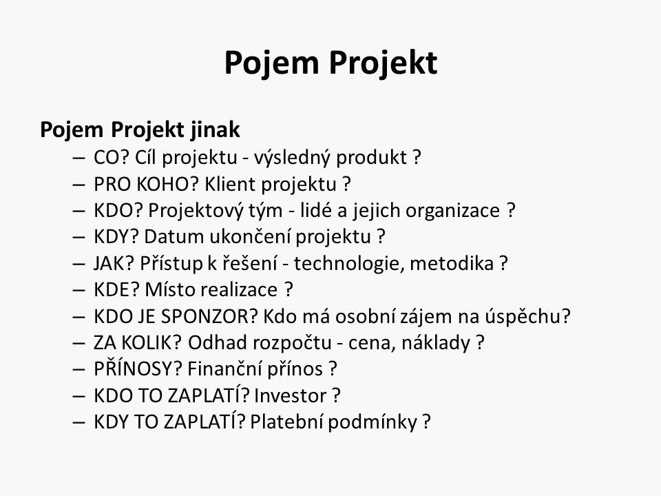 Pojem Projekt Pojem Projekt jinak