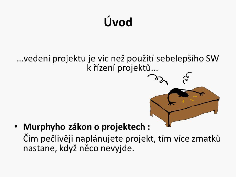 Úvod …vedení projektu je víc než použití sebelepšího SW k řízení projektů... Murphyho zákon o projektech :
