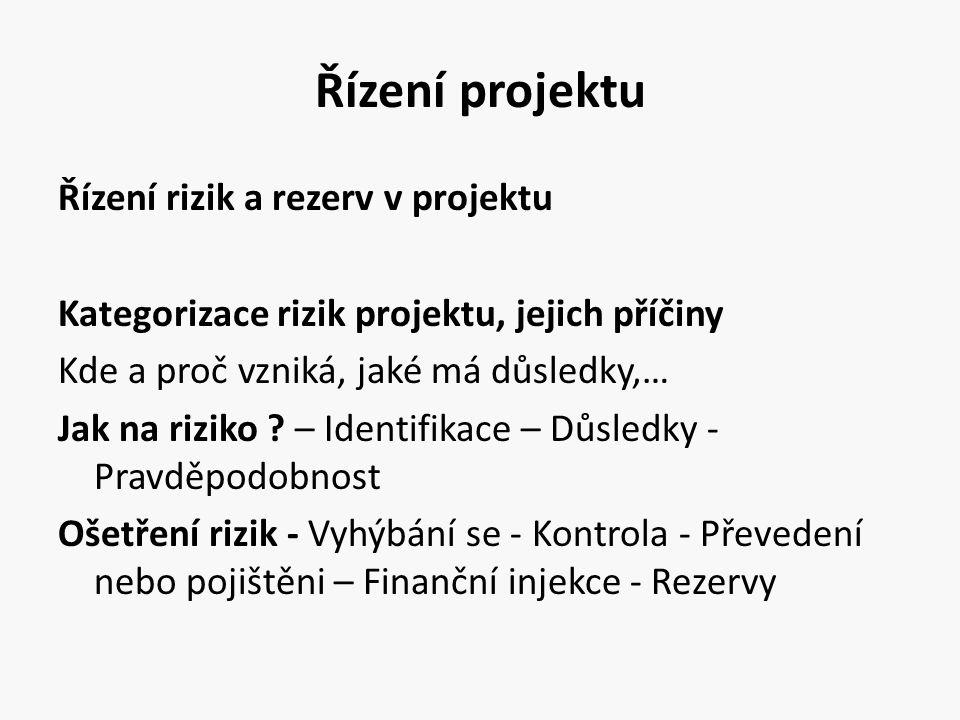 Řízení projektu Řízení rizik a rezerv v projektu