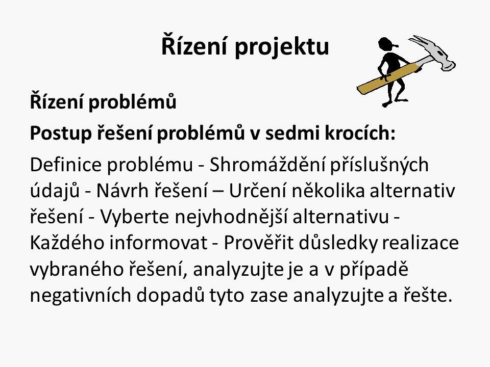Řízení projektu Řízení problémů