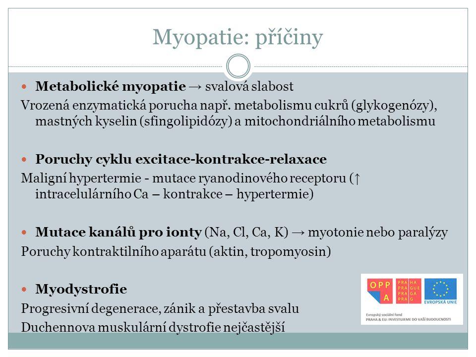 Myopatie: příčiny Metabolické myopatie → svalová slabost