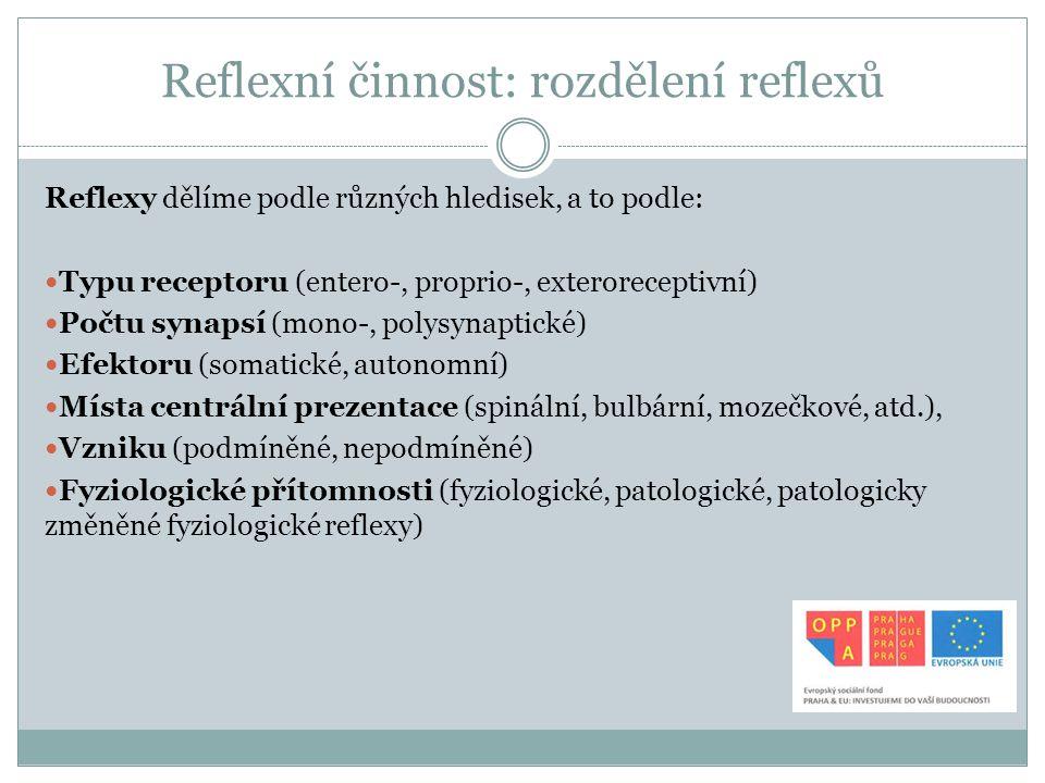 Reflexní činnost: rozdělení reflexů