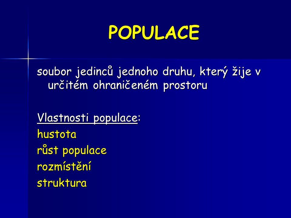 POPULACE soubor jedinců jednoho druhu, který žije v určitém ohraničeném prostoru. Vlastnosti populace: