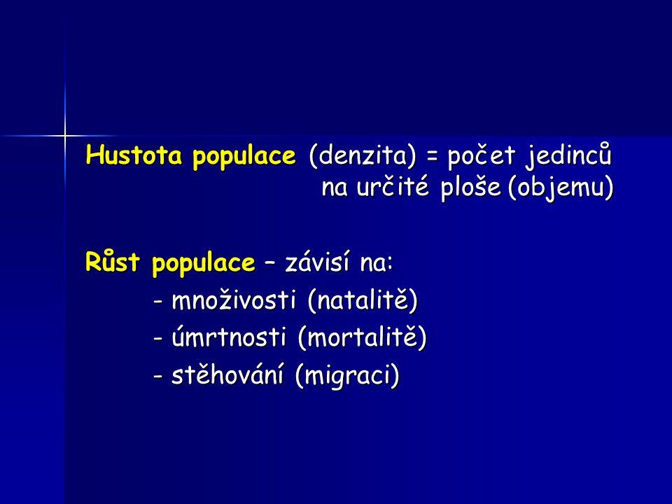 Hustota populace (denzita) = počet jedinců na určité ploše (objemu)