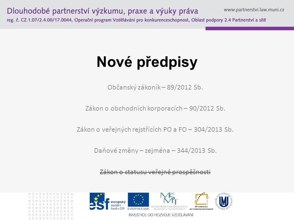 Nové předpisy Občanský zákoník – 89/2012 Sb.