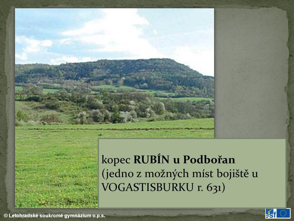 kopec RUBÍN u Podbořan (jedno z možných míst bojiště u VOGASTISBURKU r. 631)