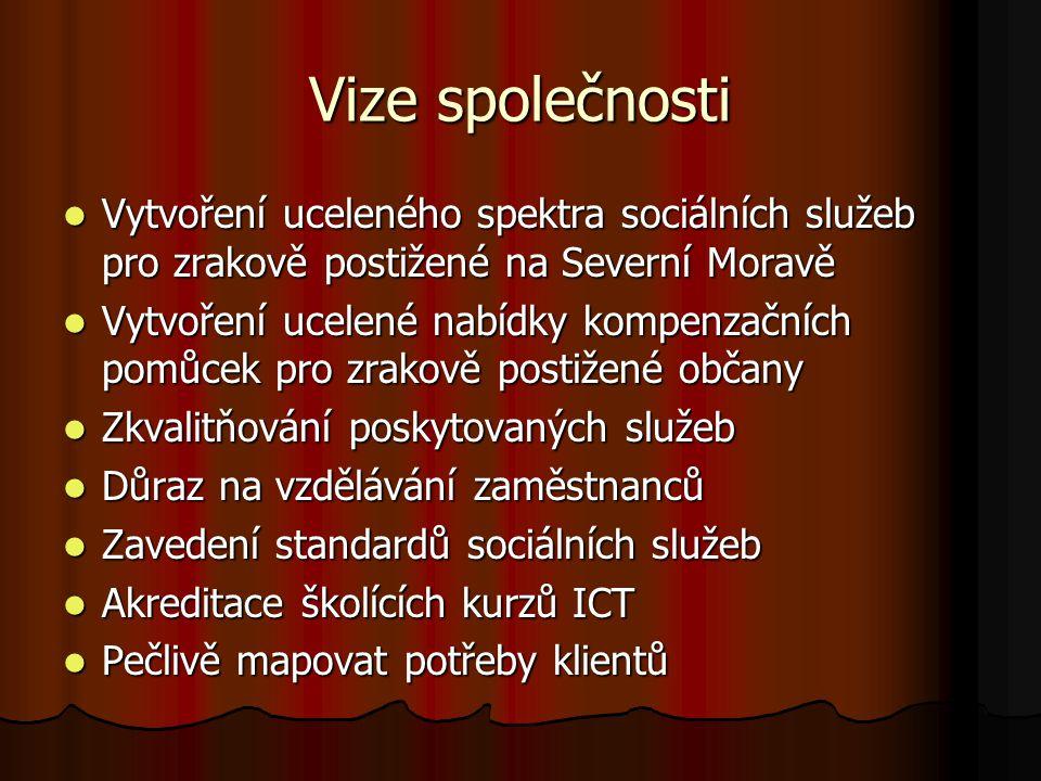 Vize společnosti Vytvoření uceleného spektra sociálních služeb pro zrakově postižené na Severní Moravě.