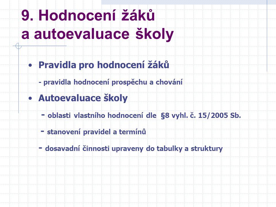 9. Hodnocení žáků a autoevaluace školy