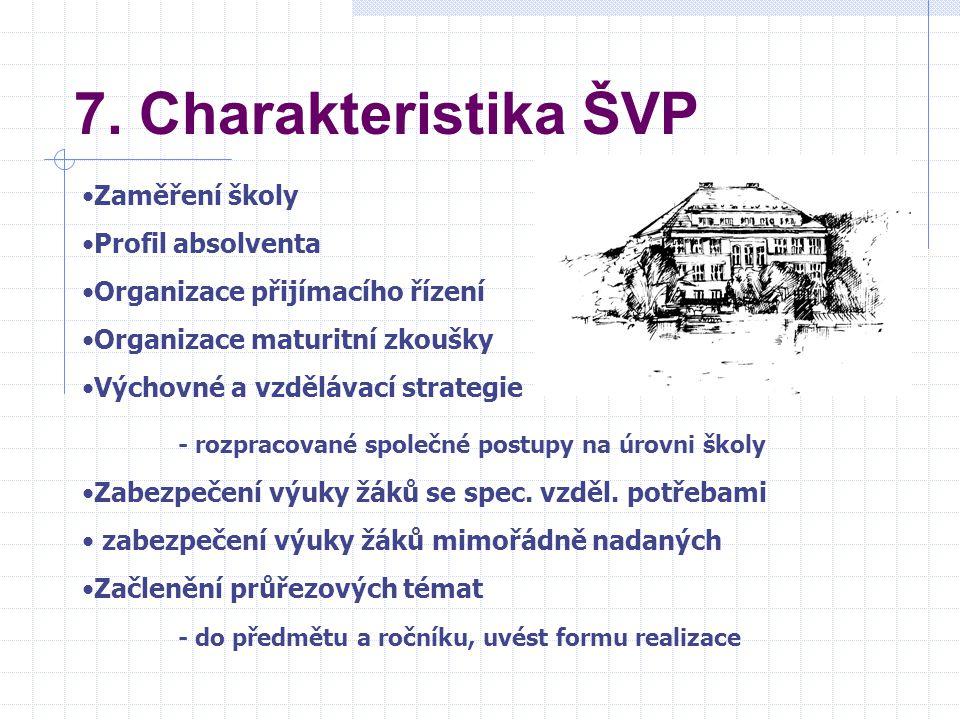 7. Charakteristika ŠVP - rozpracované společné postupy na úrovni školy