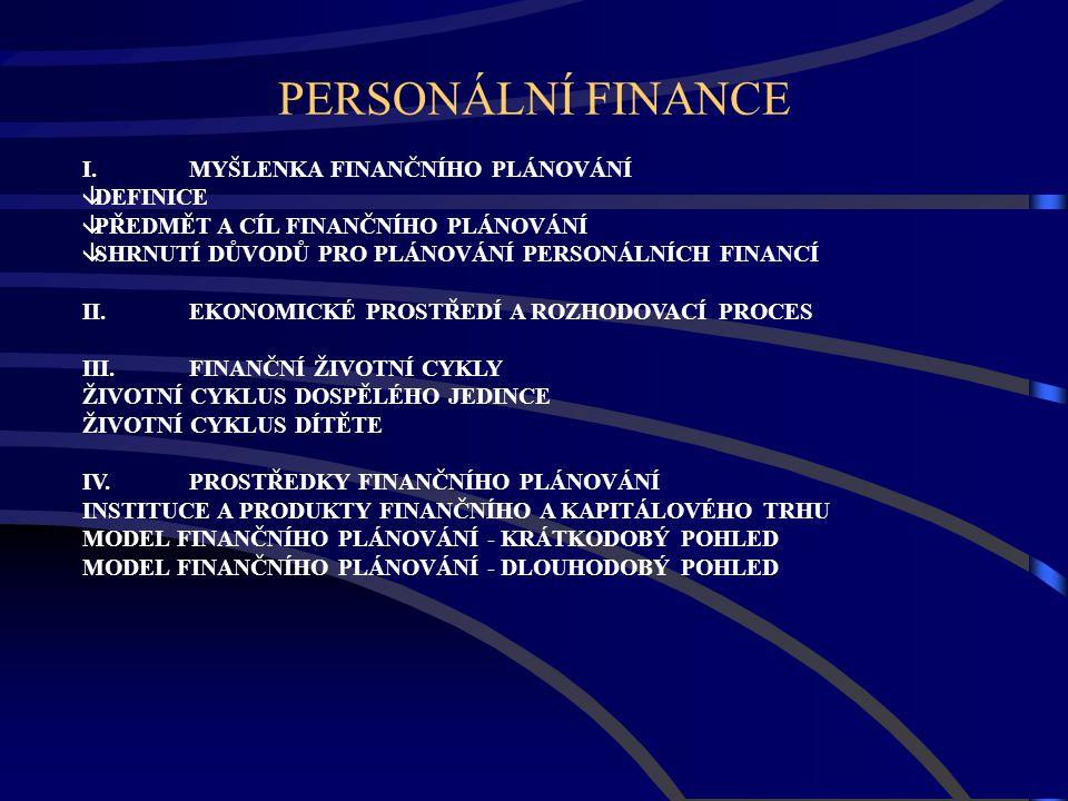PERSONÁLNÍ FINANCE I. MYŠLENKA FINANČNÍHO PLÁNOVÁNÍ DEFINICE