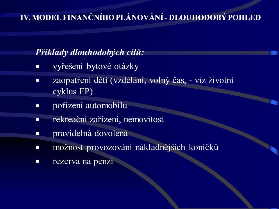 IV. MODEL FINANČNÍHO PLÁNOVÁNÍ - DLOUHODOBÝ POHLED