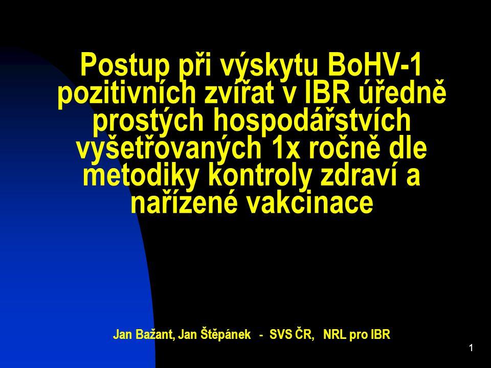 Postup při výskytu BoHV-1 pozitivních zvířat v IBR úředně prostých hospodářstvích vyšetřovaných 1x ročně dle metodiky kontroly zdraví a nařízené vakcinace Jan Bažant, Jan Štěpánek - SVS ČR, NRL pro IBR
