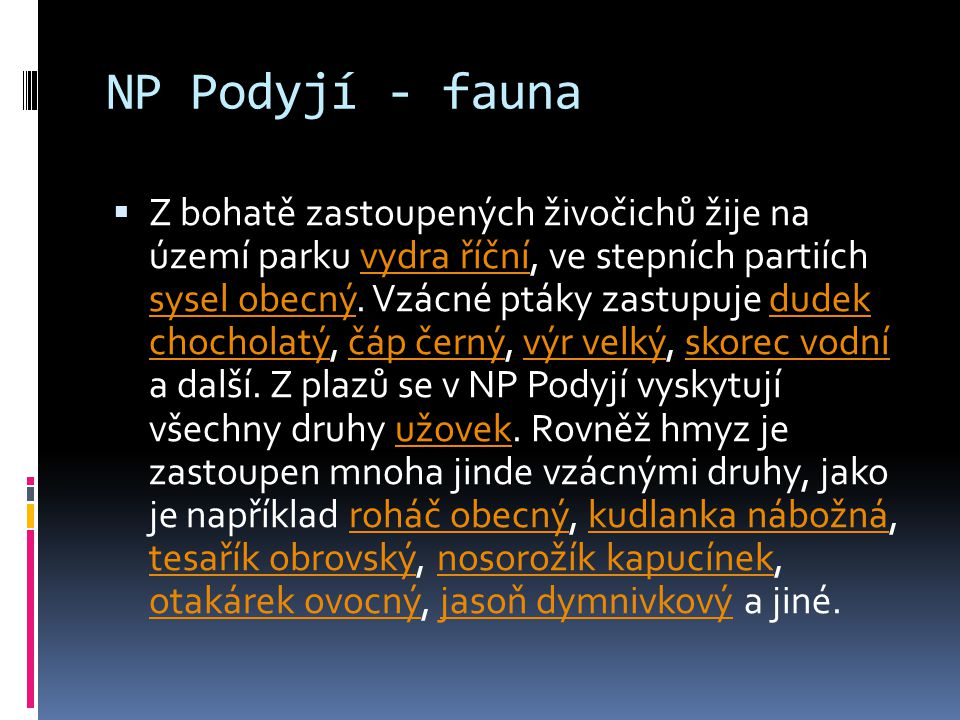 NP Podyjí - fauna