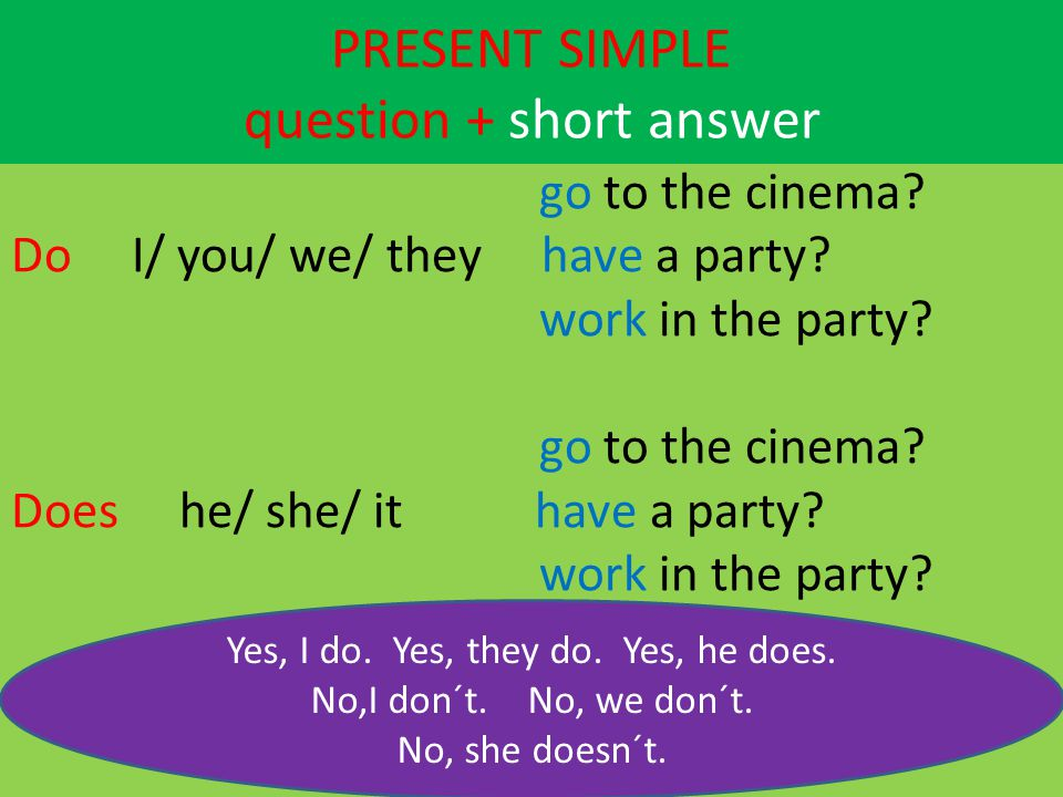 PRESENT SIMPLE question + short answer