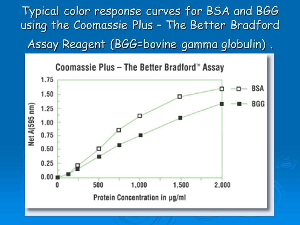 Typical color response curves for BSA and BGG using the Coomassie Plus – The Better Bradford Assay Reagent (BGG=bovine gamma globulin) .