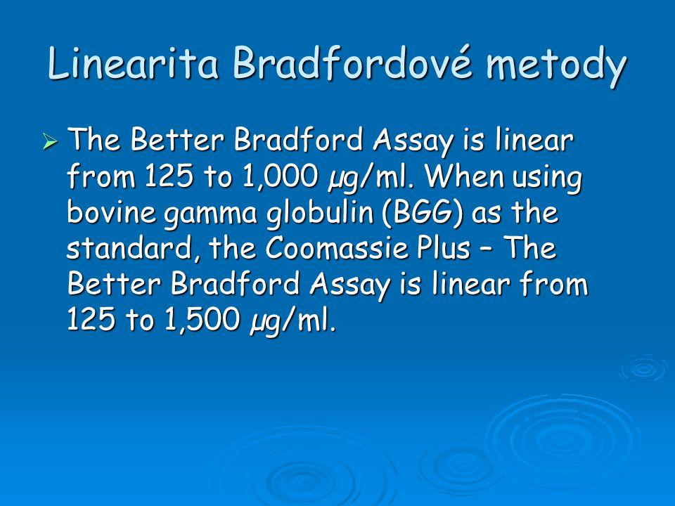 Linearita Bradfordové metody