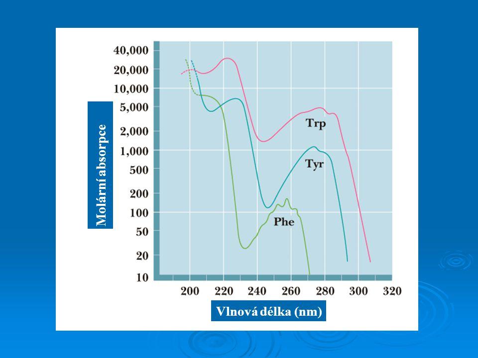 Vlnová délka (nm) Molární absorpce