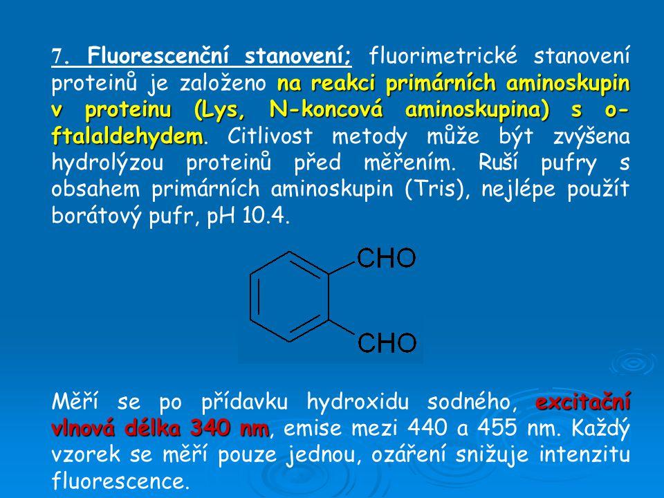 7. Fluorescenční stanovení; fluorimetrické stanovení proteinů je založeno na reakci primárních aminoskupin v proteinu (Lys, N-koncová aminoskupina) s o-ftalaldehydem. Citlivost metody může být zvýšena hydrolýzou proteinů před měřením. Ruší pufry s obsahem primárních aminoskupin (Tris), nejlépe použít borátový pufr, pH 10.4.
