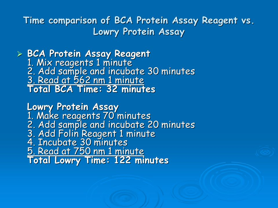 Time comparison of BCA Protein Assay Reagent vs. Lowry Protein Assay