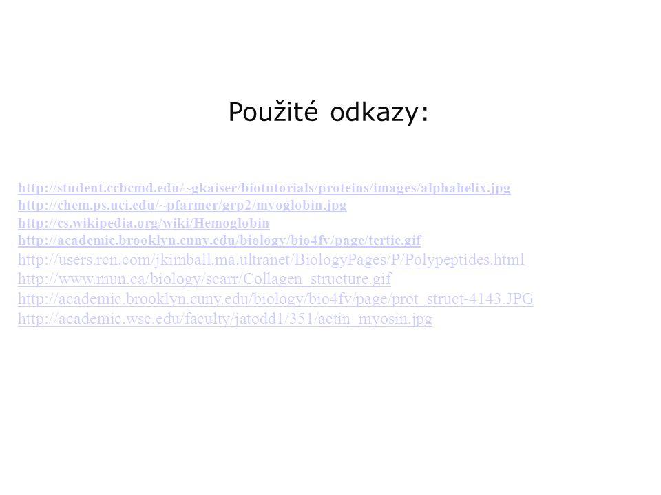 Použité odkazy: http://student.ccbcmd.edu/~gkaiser/biotutorials/proteins/images/alphahelix.jpg. http://chem.ps.uci.edu/~pfarmer/grp2/myoglobin.jpg.