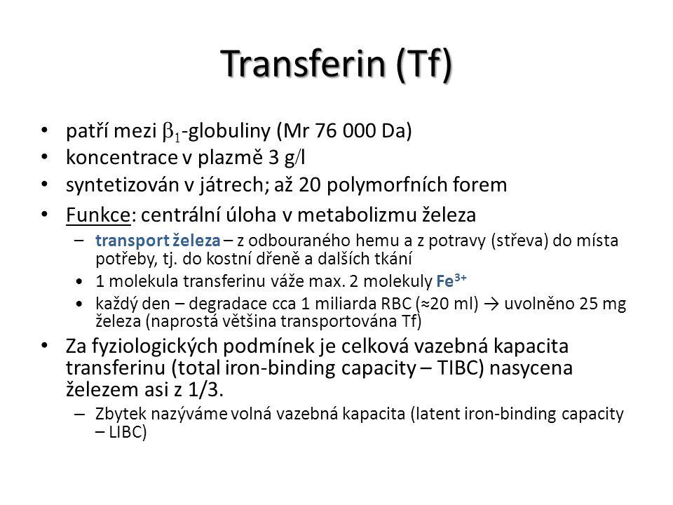 Transferin (Tf) patří mezi b1-globuliny (Mr 76 000 Da)