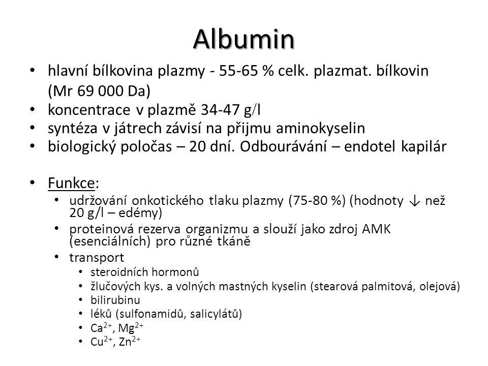 Albumin hlavní bílkovina plazmy - 55-65 % celk. plazmat. bílkovin