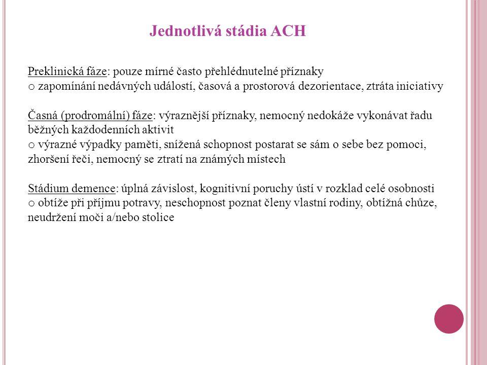 Jednotlivá stádia ACH Preklinická fáze: pouze mírné často přehlédnutelné příznaky.