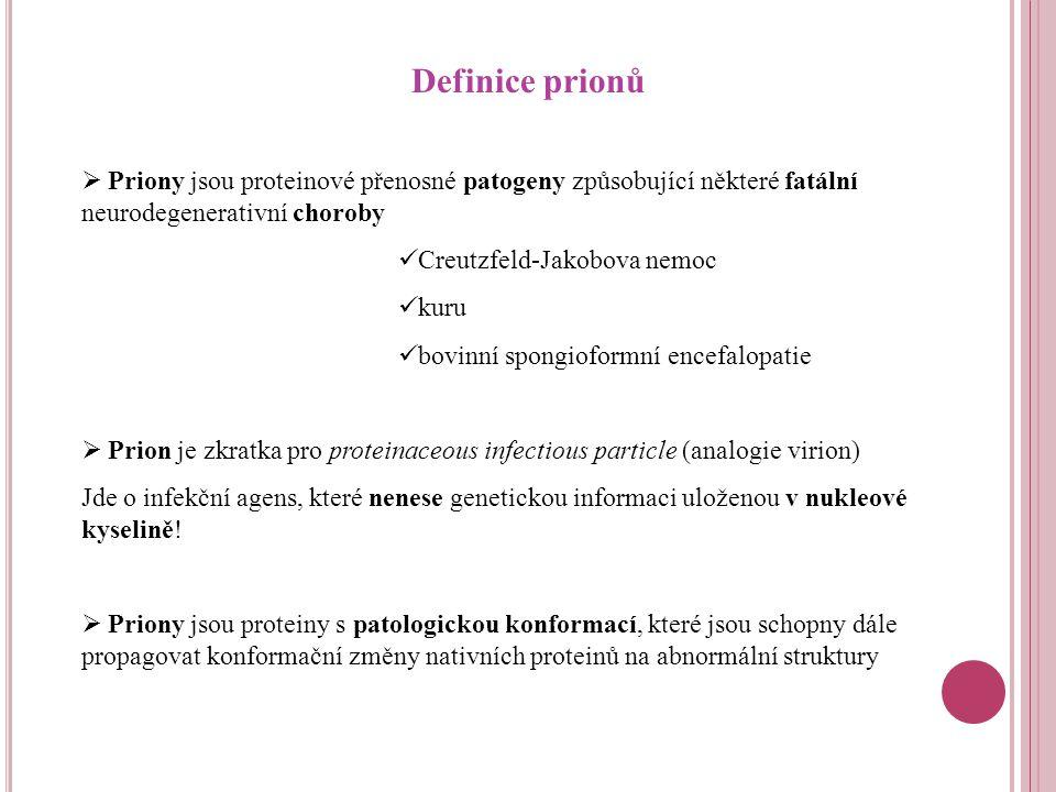 Definice prionů Priony jsou proteinové přenosné patogeny způsobující některé fatální neurodegenerativní choroby.