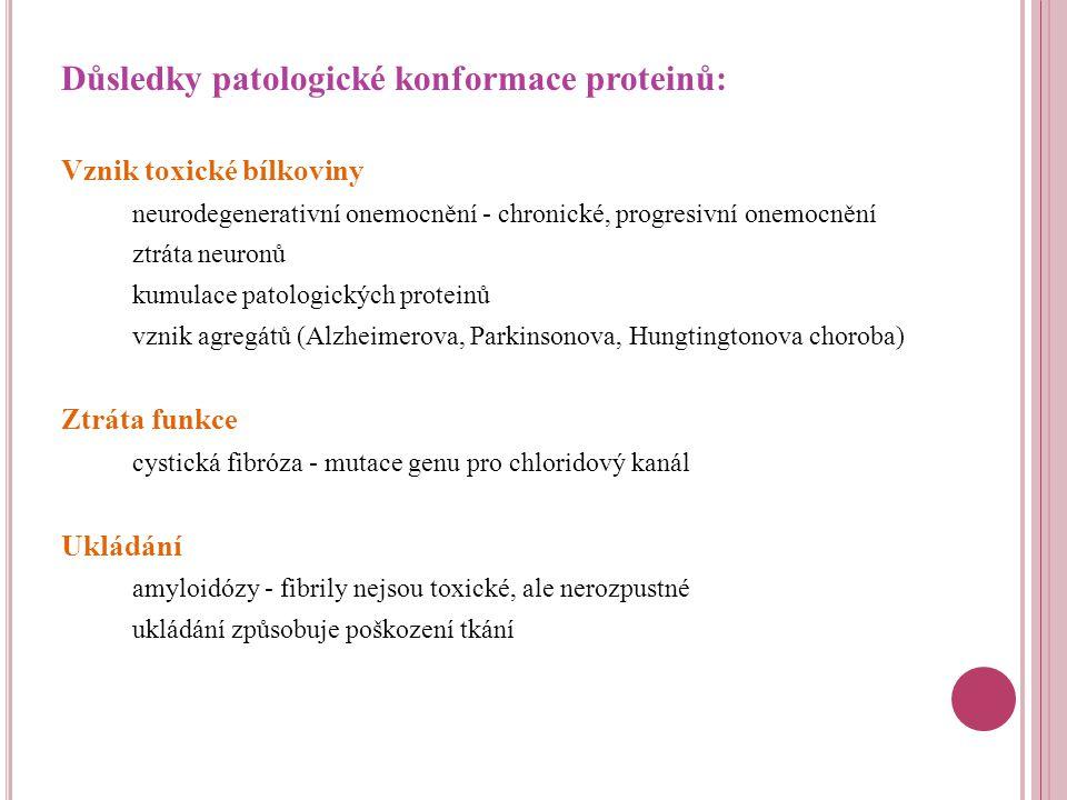 Důsledky patologické konformace proteinů: