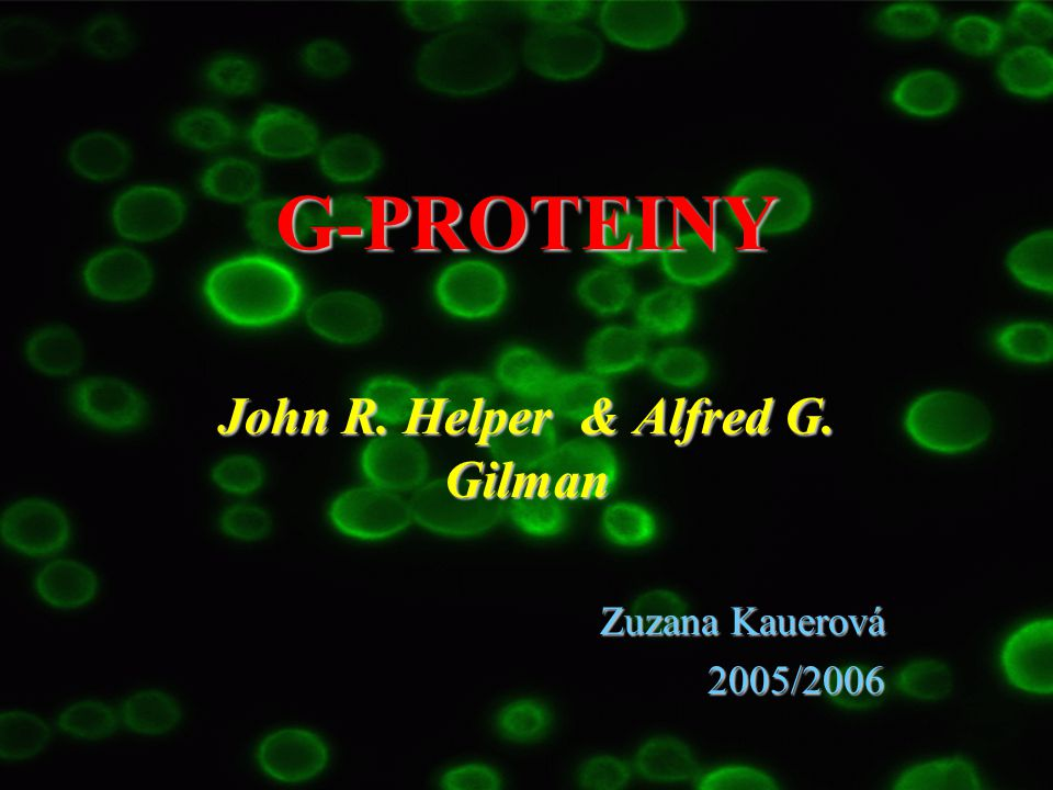 John R. Helper & Alfred G. Gilman Zuzana Kauerová 2005/2006
