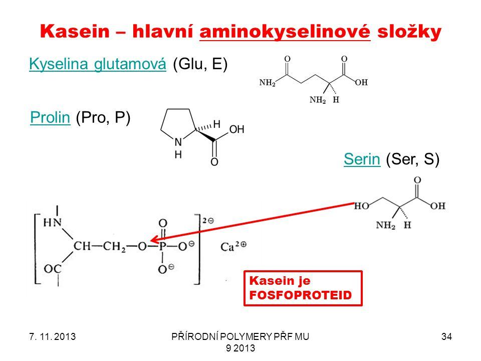 Kasein – hlavní aminokyselinové složky