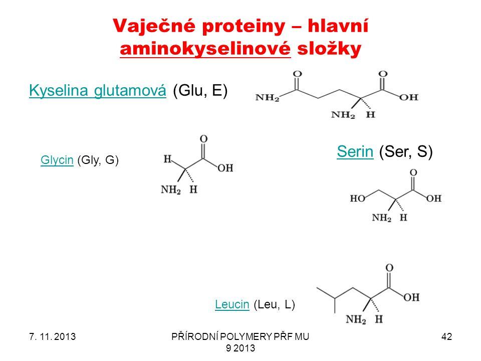 Vaječné proteiny – hlavní aminokyselinové složky